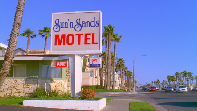 WS PAN Motel sign and motel on roadside / Huntington Beach, California, USA
