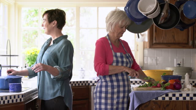 MS Mother and adult daughter cooking in the kitchen together