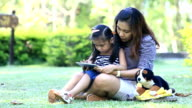 mother and daughter fun with tablet pc