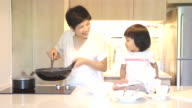 HD : Mother and Daughter in kitchen