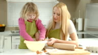 HD DOLLY: Mother And Daughter Kneading The Dough