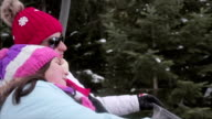Mother and daughter rides on ski lift on winter vacation,close up