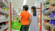 Mother and daughter shopping in supermarket,Slow motion