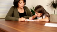Mother and daughter study lesson