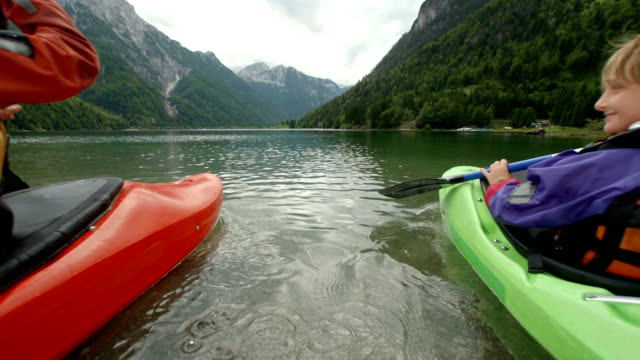 HD: Mother And Son Kayaking On The Lake
