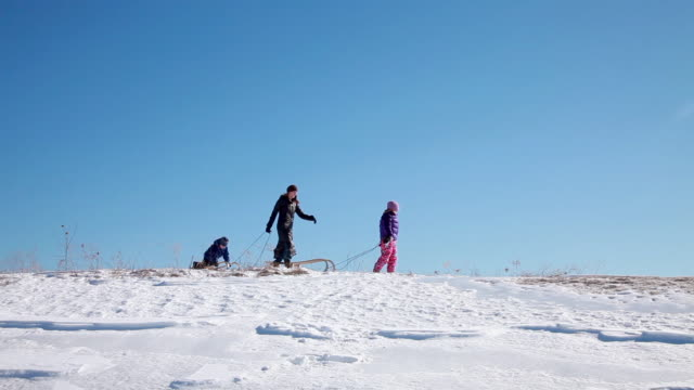 Mother and two children in snow with toboggan