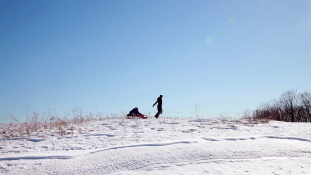Mother pulling toboggan with two children through snow