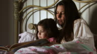 Mother reading daughter bedtime story in bed