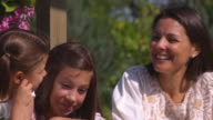 SLO MO MS PAN Mother with two daughters (8-9, 16-17) / Utah, USA