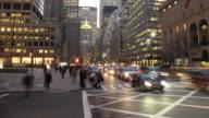Motion blur traffic at night in Midtown Manhattan.