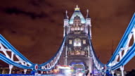 HD Motion Time-Lapse: Busy Tower Bridge At Night