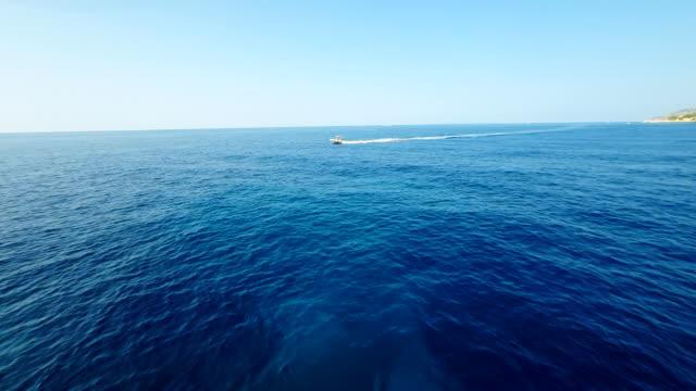 AERIAL Motor Boat In The Sea