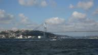 Motor Yacht Passing Under The Bosphorus Bridge