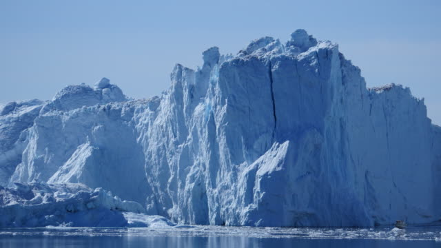 Motorboat quickly travels through the ice floes