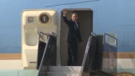 Motorcade pulls up President ascends staircase to Air Force 1 US President Barack Obama leaves on AF1 at Dulles International Airport on October 05...