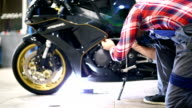 Motorcycle engine maintenance.