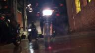 MS POV Motorcycle gang riding toward camera