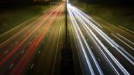 WS TD T/L Motorway with heavy traffic at night / Redbourn, Bedfordshire, United Kingdom