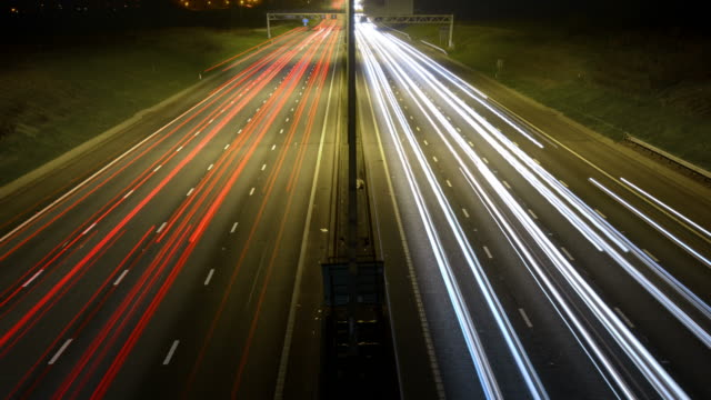 WS TD T/L Motorway with heavy traffic at night / Redbourn, Bedfordshire, United Kingdom