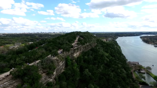 Mount Bonnell Aerial Fly Over Austin Texas Circle Around Mount Bonnell