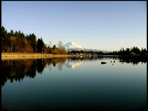 Mount Rainier reflecting in calm lake, Washington