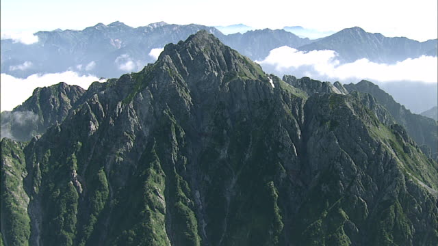 Mount Tsurugidake towers above the cloud line. Aerial Shot