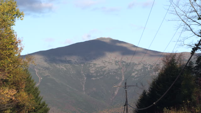 Mount Washington in New Hampshire with road in foreground