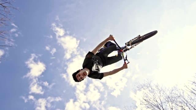 SLO MO Mountain biker performing backflip trick