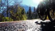 Mountain biker rides up wet road into sun