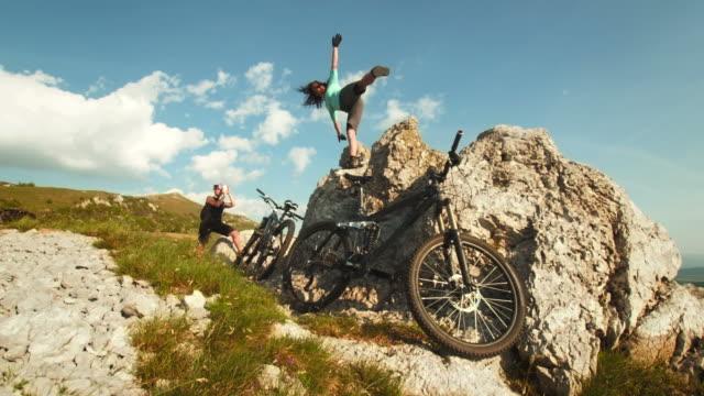 HD: Mountain Bikers Having Fun Taking Photos