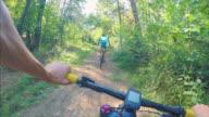 Mountain biking together.