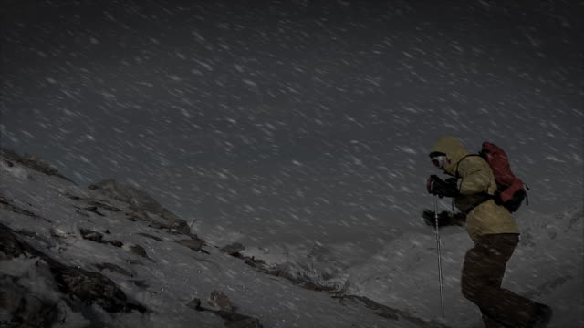 Mountain climbing in bad weather (HD 1080)