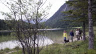 mountain lake, family walking with dog, distance shot