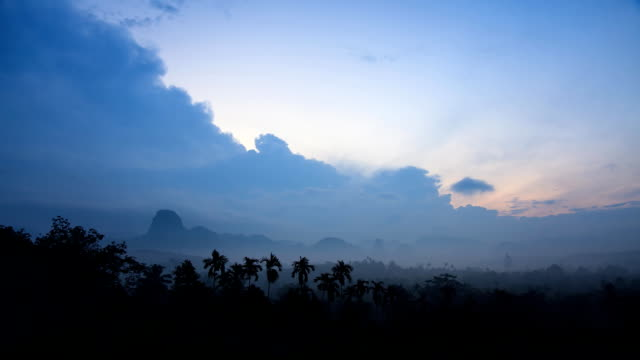 Mountain landscape with fog and clouds in Thailand.