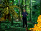 Mountain rainforest discovered ENGLAND London INT Ewart to camera in VIRTUAL REALITY GRAPHIC rainforest showing new species discovered plants...