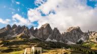 Mountain Range Timelapse at Dusk,Alps european Dolomites ,italy