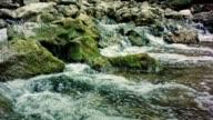 Mountain River Flowing Down Through The Rocks