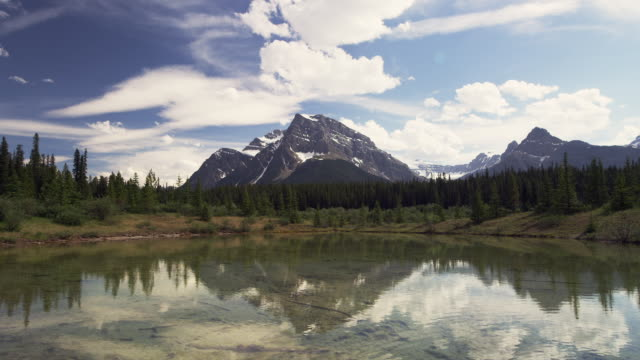 Mountain with reflection in Lake Banff national park Alberta Canada