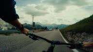 POV mountainbike on a mountain road: the Sella Pass
