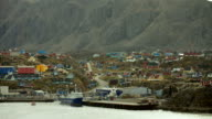 Mountains And Fishing Port In Greenland