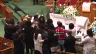 Mourners view the body of Freddie Gray and pay their respects during funeral services at the New Shiloh Baptist Church in Baltimore United States on...