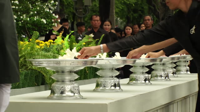 Mourning members of the public at the funeral of King Bhumibol of Thailand