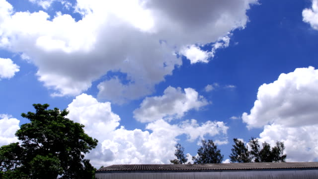 Moving clouds at the roof