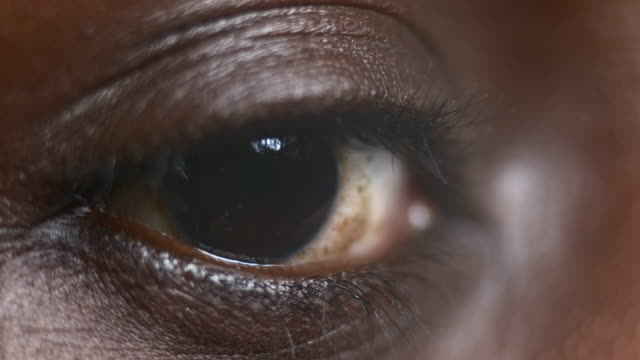 ECU Moving eye of an African-American person