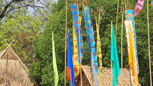 Moving of Thai Lanna Flag in Northern Thailand