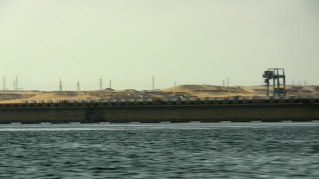 SIDE POV, Moving on Nile River along Aswan Dam, Aswan, Egypt