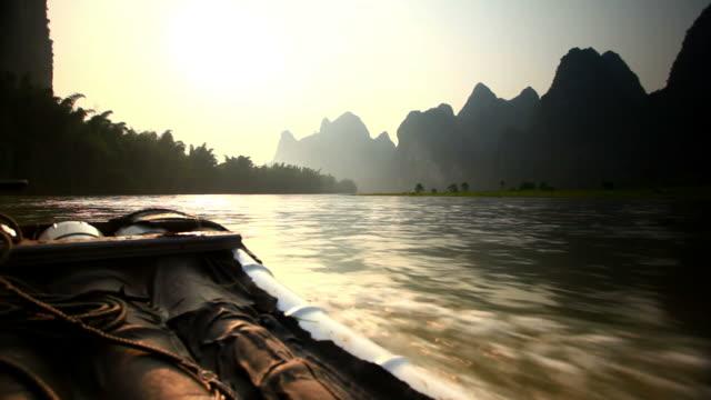 moving raft on golden Li river