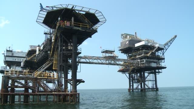 Moving shot around oil rig off Louisiana Coast Oil rig in Gulf of Mexico at Gulf of Mexico on August 22 2011