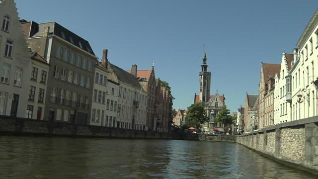 Moving Shot Leie Riverside Bruges West Flanders Belgium