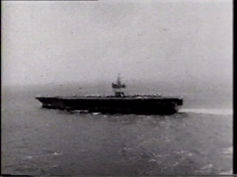 AERIAL WS United States Navy USS Enterprise nuclearpowered aircraft carrier off coast of Vietnam Cold War conflict combat cruise